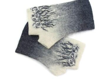 Felted Fingerless Gloves Fingerless Mittens Arm warmers Wristlets Merino Wool White Gray Floral