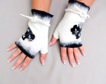 Felted Fingerless Gloves Fingerless Mittens Arm warmers Wristlets Merino Wool Black White Floral
