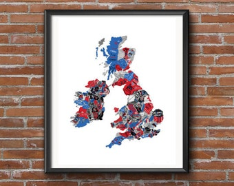 Map of England, Giclee Print Map, Map Drawing, Handwriting Map, Handwriting Letters, White, Red, Blue, Black Ink, Handwriting fonts, print