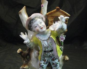 Figurine Boy Bird House Up Raised Flowers Birds Gold Design Ucagco 1960