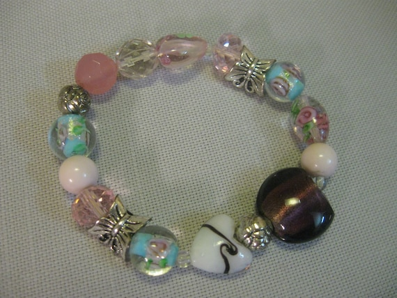 Faux Turquoise Beaded Stretch Bracelet with Silver Flowers