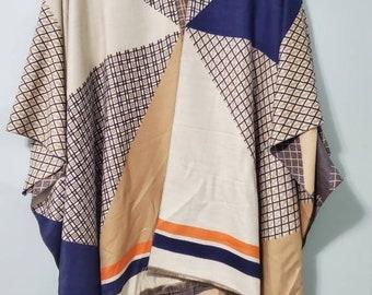 Navy and camel geometric pashmina long length layering kimono,ruana, duster