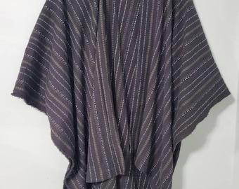 boho layering kimono,ruana, duster in black embroidered gauze fabric