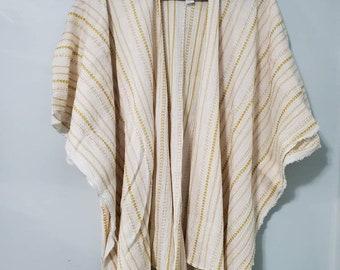 boho layering kimono,ruana, duster in cream with mustard embroidered gauze fabric