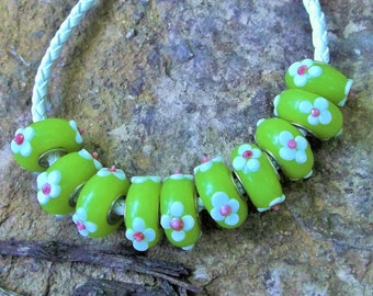 10 Lime Green Murano Glass Beads With Embellishments