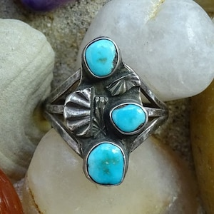 Vintage Native American Turquoise Ring Two Stones Sterling Silver Size 6 34