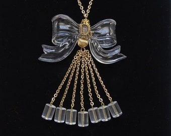 13e51b1b59e2 Vintage Clear Lucite Plastic Bow Pendant Necklace with Dangles Signed Dior  33 Inch