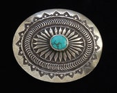 Vintage Pete Morgan Navajo Sterling Silver Concho Western Belt Buckle with Turquoise 62 Grams