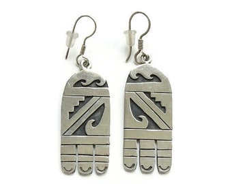 0d3225b87 Vintage Signed Hopi Silvercraft Guild Sterling Silver Overlay Pierced Earrings  Drop Dangle