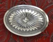 Vintage Navajo Sterling Silver Concho Belt Buckle Signed H. Harrison Blackgoat C1950s