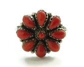 Vintage Native American Christine Eriacho Zuni Coral Petit Point Cluster Ring Size 9 3 4 - 10 Signed