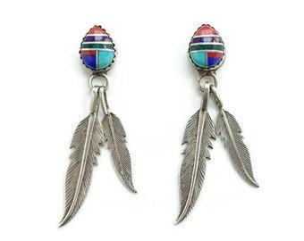 Southwestern Feather Dangle Sterling Silver Pierced Earrings Multistone Channel Inlay