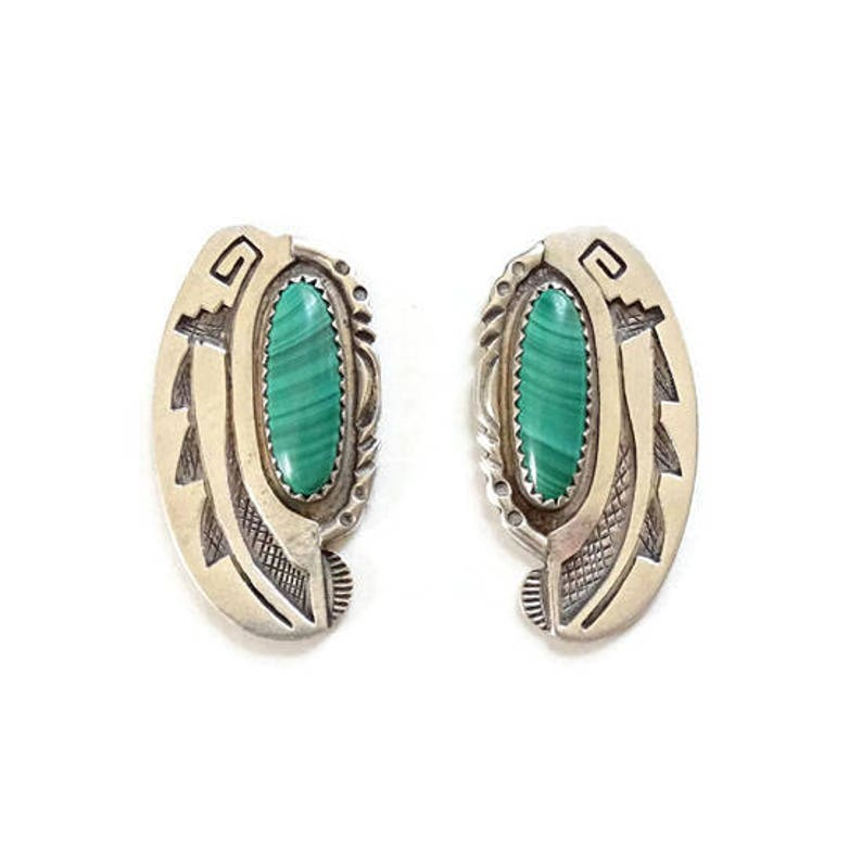 6ccecfafb8b3c Vintage Native American SY Sterling Silver Overlay Sally Yazzie Malachite  Pierced Earrings