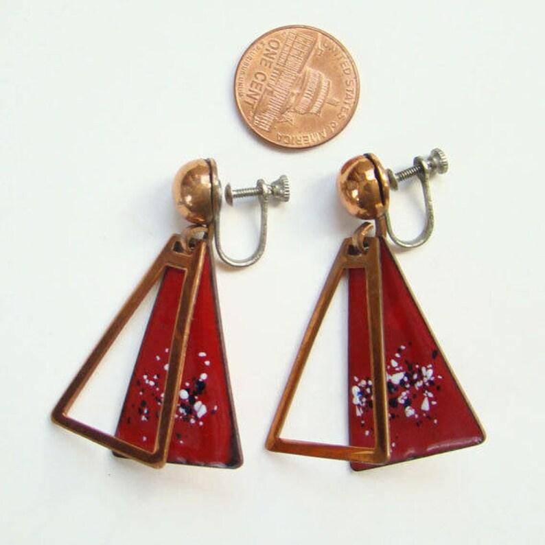 Vintage Mid Century Francisco Rebajes Red Enamel Copper Link Bracelet Earrings C1950s Signed