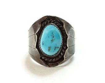 Old Native American Men's Turquoise Ring Size 10 3/4 Hallmarked TJ
