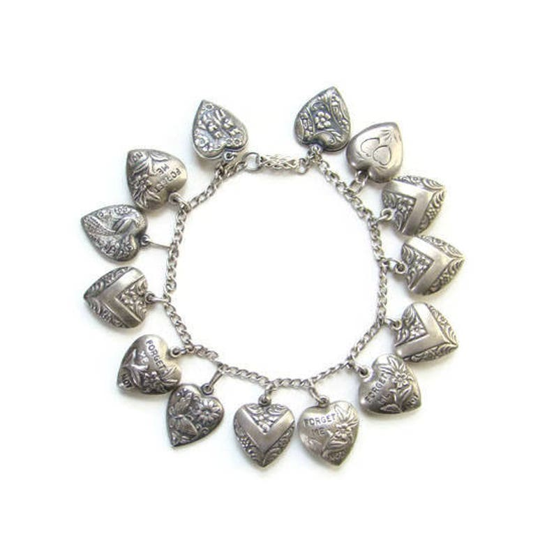 32b7e6f1b868f Vintage Sterling Silver 14 Puffy Heart Charm Bracelet with Engraved Family  Names World War II Era C1940s