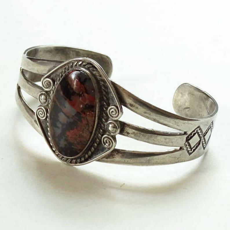 Old Fred Harvey Era Navajo Petrified Wood Sterling Silver Cuff Bracelet 1940s Handmade