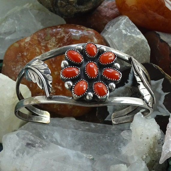 Vintage Bear Paw Cuff Native American Shadow Box Bracelet with Red Coral