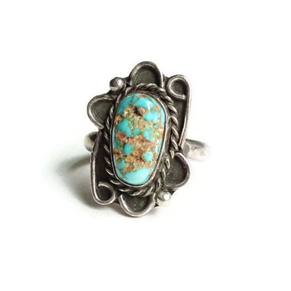 b0824877cf3 Vintage Navajo Turquoise Nugget Ring Sterling Silver Size 6