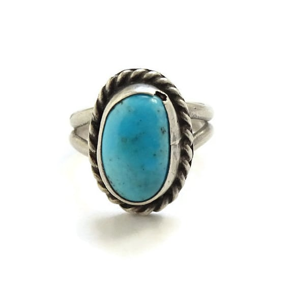a96333ecf17 Vintage Southwestern TURQUOISE Pinky Ring Size 4 3 4 Sterling