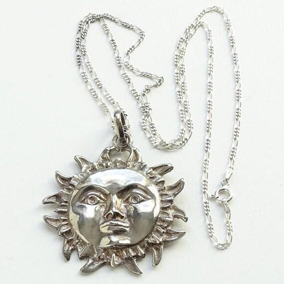 1 Large Celestial Sun Face Pendant Silver Tone Metal 60mm