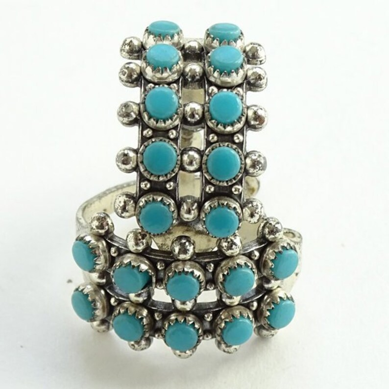 Vintage Zuni Double Row Snake Eye Turquoise Screw Back Earrings Marked Sterling