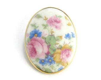 Porcelain Brooch Pin Pink Cabbage Roses Blue Flowers