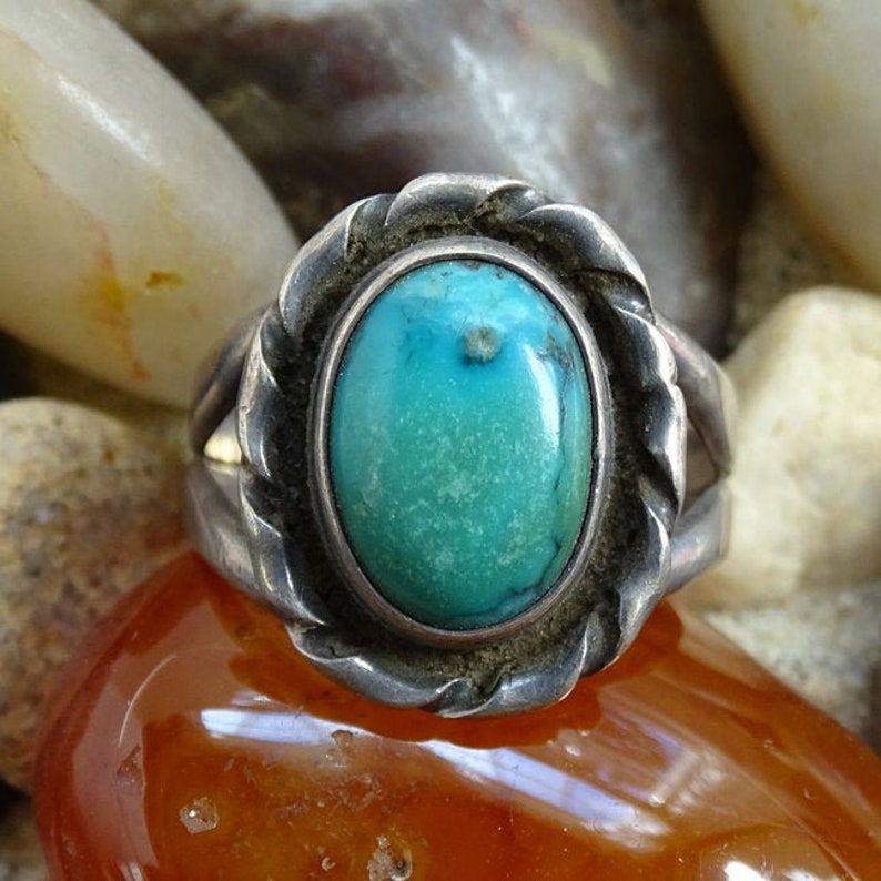 Vintage Southwestern Turquoise Ring Size 9 34 to 10 Sterling Silver Native American Indian Jewelry
