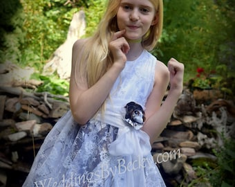 Camo flowergirl dress-- Mossy Oak winter with Lace Overlay size 6-12