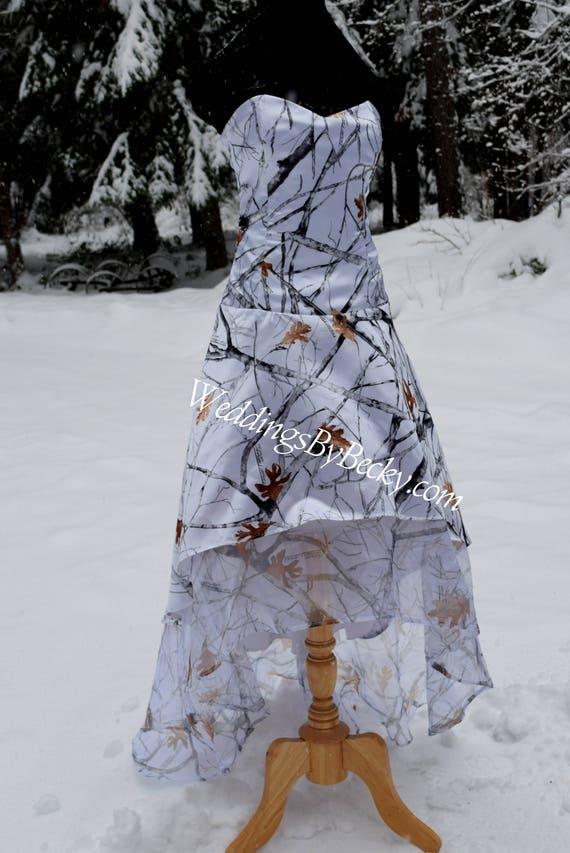 Truetimber Snow Camo Wedding Hi Low Hem Dress Etsy