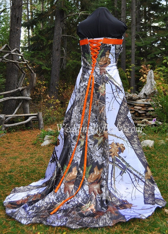 Wrap Waist Full Camo Wedding Dress Maggie Made Only Etsy