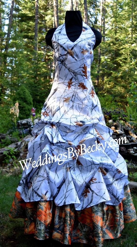 Camo Wedding Gown Dress All Satin Camo Pam Made Etsy