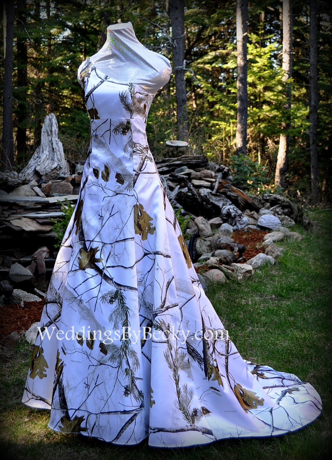 Realtree Snow Camo Wedding Dress Abigail Made Only Etsy