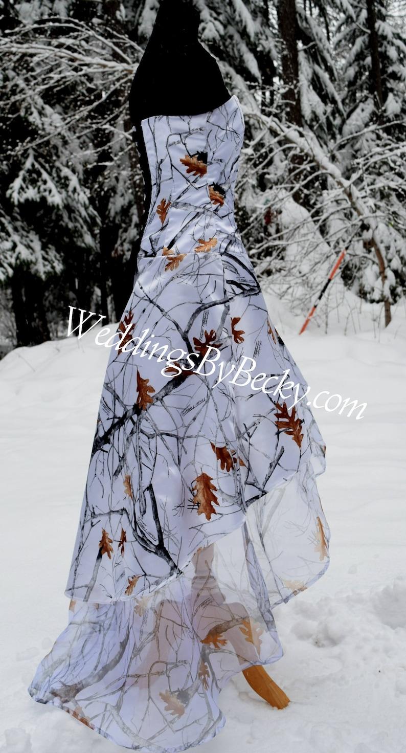 ab635c4ca7 Truetimber Snow Camo Wedding Hi-Low hem dress