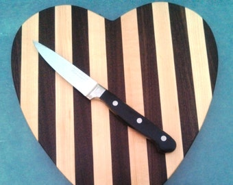 Handmade in Vermont Wooden Cutting Board | Cheese Board | Heart Shape in Maple and Walnut