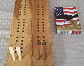 Handmade in Vermont | Cribbage Board in Oak Burl with Wooden Pegs