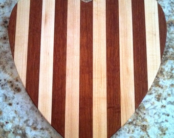 Handmade in Vermont Wooden Cutting Board | Cheese Board | Heart Shape in Maple and Mahogany