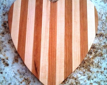 Handmade in Vermont Wooden Cutting Board | Cheese Board | Heart Shape in Cherry and Maple