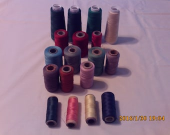 Serger Thread Assorted size spools and colors.
