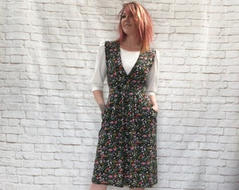 c522eba8aec Vintage 80s Does 40s Pinafore Dress Black Floral White Top Midi Pockets XS S