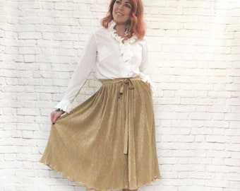 f360b0d2a340 Vintage 60s Gold Skirt Sparkle Metallic Pleated Midi Belted Howard Wolf XS