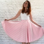 Vintage 60s Pink Floral Full Circle Midi Skirt Swing Square Dance S/M