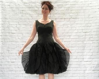 Vintage 50s Chiffon Ruffled Tutu Skirt Party Dress Black Clearance Salvage S Costume