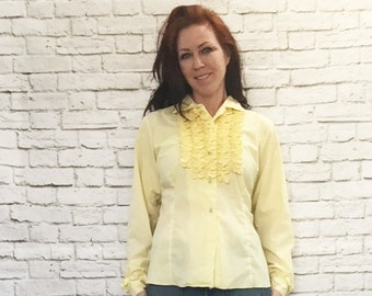 Vintage 60s Ruffled Tuxedo Top L Yellow Long Sleeve Western Blouse