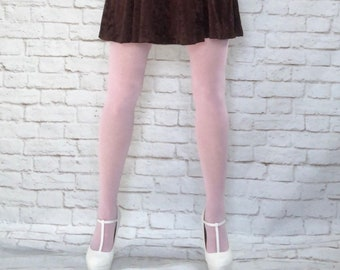 f61762363 Vintage 90s Does 60s Pink Opaque Tights Hosiery Hose XS S M Mod Twiggy  Grunge