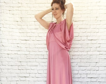a355dda8eb52 Vintage 70s Halter Maxi Dress + Cape Top M L Batwing Shawl Mauve Pink  Draped Grecian Disco