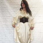 Vintage 70s Young Edwardian Pirate Peasant Wench Tent Midi Dress Ruffled Poet Sleeves S M Pockets Cream Gold Beige