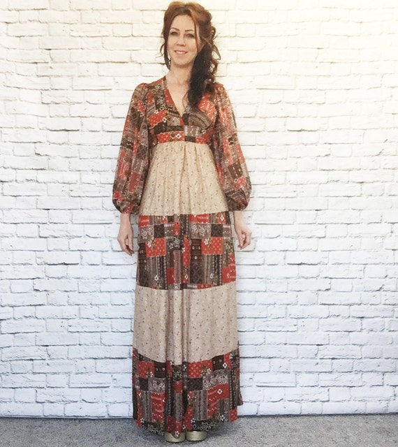 Vintage 70s Calico Patchwork Maxi Dress Balloon Sleeve Apron Belt Pattern Contrast Striped Brown XS S