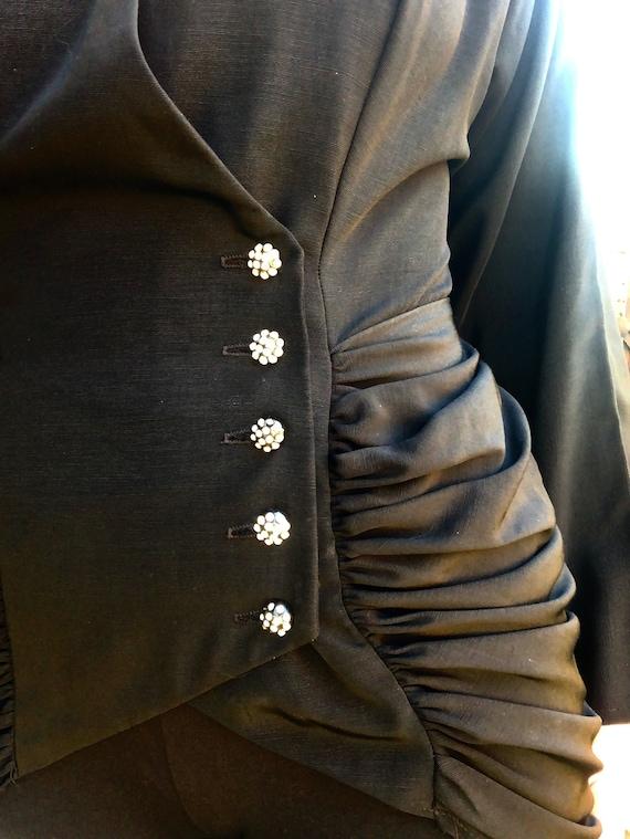 Vintage 90s Victorian Gothic Bustle Ruched Jacket… - image 7