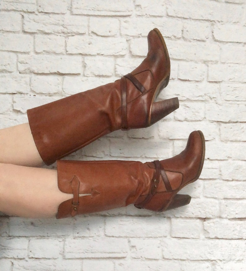 0ed93ad22d89a Vintage 70s Zodiac Brown High Heel Campus Calf Boots Ankle Straps 7-7.5  Leather Western Bohemian